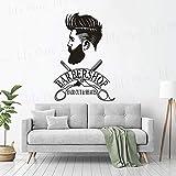 Friseur Schaufenster Aufkleber Hipster Mann Wandaufkleber