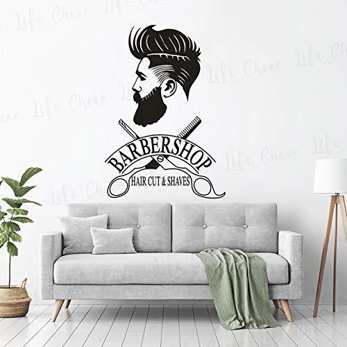 Friseur Schaufenster Aufkleber Hipster Mann Wandaufkleber Friseur Schere Wandbild Rasur und Haarschnitt Logo Wand Fenster Poster 57x82cm