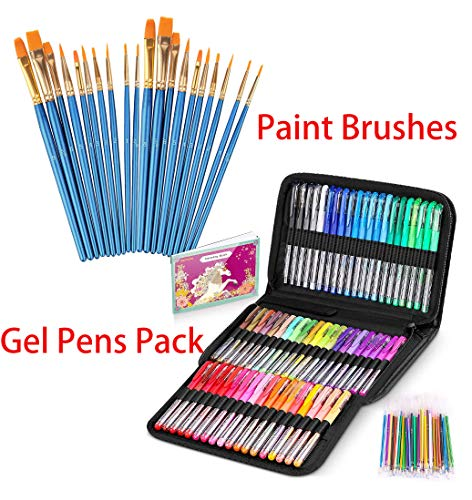20Pcs Artist Paint Brushes & 122 Pack Artist Colored Gel Pack