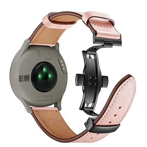Vivoactive 3 correa de reloj, 20 mm de liberación rápida de cuero genuino correas de repuesto para Garmin Vivoactive 3/Garmin Forerunner 645 Music/Samsung Galaxy 42 mm Smart Watch