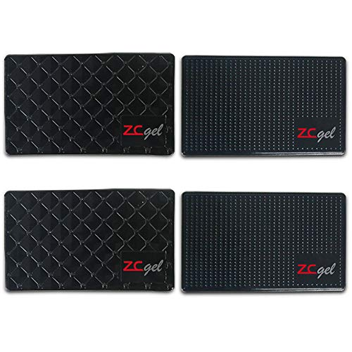 ZC GEL Sticky Dash Pad (4 Pack), Removable and Traceless Car Dashboard Mat with Heat Resistant, Sticky Non-Slip Dashboard Gel Pad for Cell Phone, Sunglasses, Keys, Coins and More