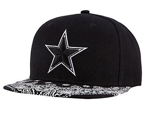 WUKE Sombrero Clásico Gorra de Beisbol Hombre con Estrella Bordado Protectora de Sol Plano Negro