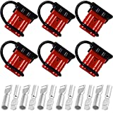 BESPROTOOLER 6 Sets Red 50A 6-10 Gauge Battery Quick Connector 12-36V Towing Winch Quick Connect Systems Wire Harness Plug Kit for Auto Car or Trailer