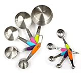Juego de tazas y cucharas medidoras de acero inoxidable duradero, cucharas medidoras, tazas con 2 anillos, utensilios para cocina en el hogar