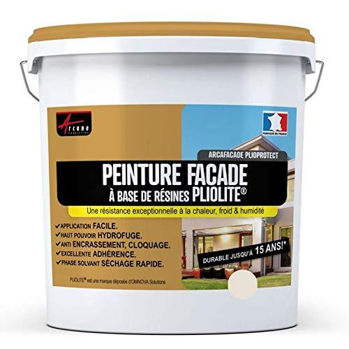 Arcane Industries - Pintura fachada pliolite tono piedra blanca, pintura de sellado, renovación fachada, pared crepada, plegable, color blanco roto (Ral 9001) – 10 L (+ o – 80 m2 en 1 capa)