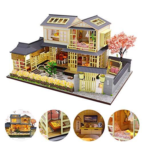 Fai da Te Kit di Dollhouse Villa in Stile Giapponese 3D Mini Appartamento con Luce A LED, Scala 1: 24 Creativa Casa delle Bambole, per I Bambini Regali di Compleanno