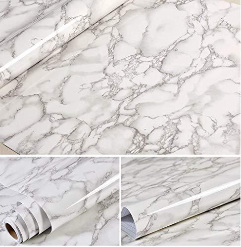 Pellicola adesiva in vinile effetto marmo grigio lucido per mensole e armadietti da cucina, 61 x 495 cm
