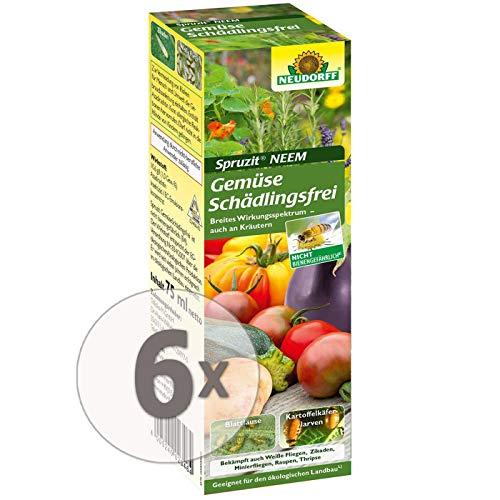 Gardopia Sparpack: Neudorff Spruzit NEEM GemüseSchädlingsfrei, Konzentrat, 6 x 75 ml Plus Zeckenzange mit Lupe