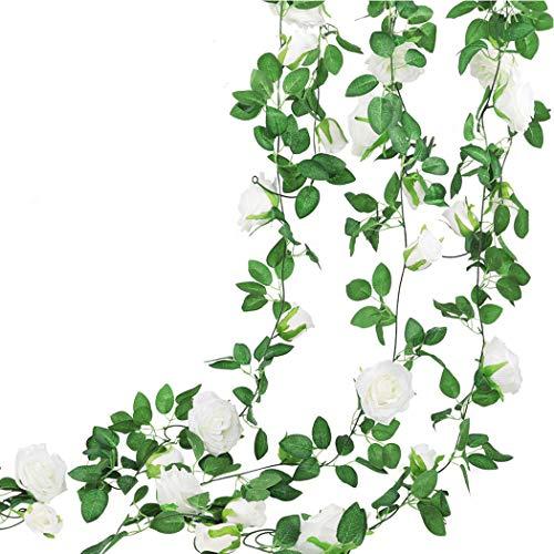 2 rosas artificiales artificiales con hojas verdes, 9 flores, guirnaldas de rosas colgantes para decoración de dormitorio, jardín, boda, fiesta, hogar, restaurante, club, bar, 2 unidades