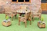 WOODEN <span class='highlight'>GARDEN</span> FURNITURE PATIO <span class='highlight'>GARDEN</span> SET 1.2 METRE ROUND TABLE AND 4 CHAIRS NEW