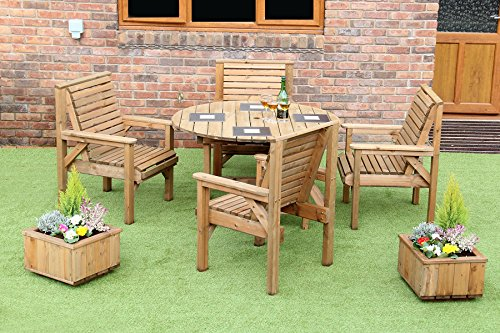 WOODEN GARDEN FURNITURE PATIO GARDEN SET 1.2 METRE ROUND TABLE AND 4 CHAIRS NEW