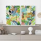 YHHZW Wandkunst Regenwald Tiere Leinwand Malerei Druck