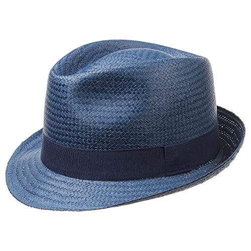 Hutshopping Malaga Strohtrilby für Damen, Herren und Kinder blau -Frühjahr/Sommer - Strohhut in der Größe 57 cm - Sommerhut aus 100% Papierstroh - In Italien gefertigter Sonnenhut