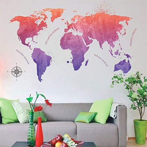Farbverlauf Weltkarte Wandaufkleber für Wohnzimmer Kinderzimmer Schlafzimmer Kinderzimmer Home Decor Wallpaper Art Murals Decals
