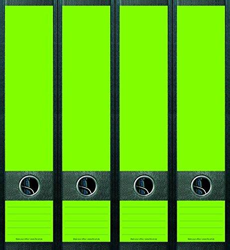 4er Set Ordnerrücken für breite Ordner Neon Grün Blanco Ordner Aufkleber Etiketten Deko NB001