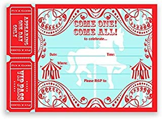 Best POP parties Carousel Large Invitations AR - 20 Invitations 20 Envelopes - Carnival Invitations - Circus Invitations Review