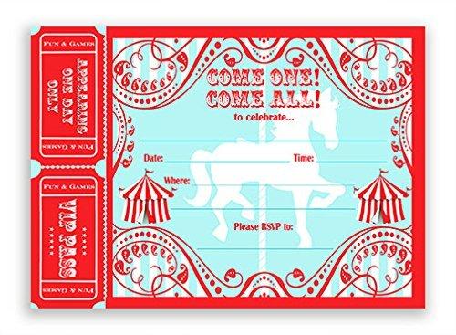 Carousel Einladungen groß AR–20Einladungen 20Umschläge–Karneval Einladungen–Zirkus Einladungskarten