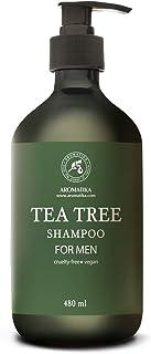 Champú para Hombres 480ml - para Cuero Cabelludo Sensible - Anticaspa - Aceite Esencial de Árbol de Té - Extractos de Gros...
