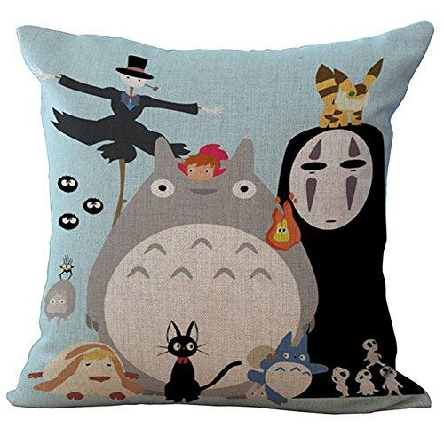 Yovvin, graziosa federa per cuscino Totoro in cotone e lino per cuscino, decorazione per la casa e l'auto, 45 x 45 cm, Cotone e lino, H16, 45 x 45 Centimeters