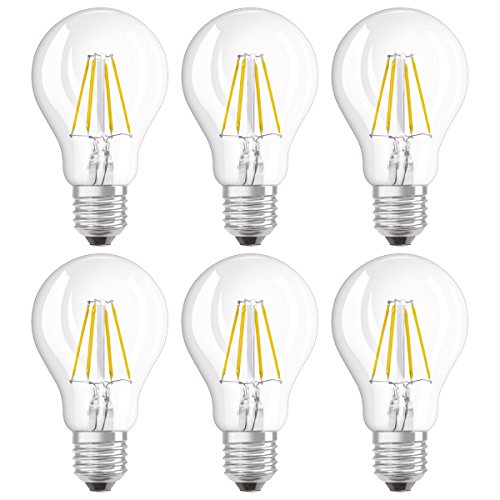 Osram LED SuperStar Classic A Lampe, in Kolbenform mit E27-Sockel, dimmbar, Ersetzt 40 Watt, Filamentstil Klar, Warmweiß - 2700 Kelvin, 6er-Pack