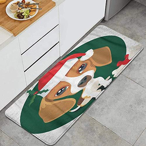 ZORMIEY Alfombras Cocina Lavable Antideslizante Alfombrilla de Goma Alfombra de Bao Alfombrillas Cocina 45x120cm,Cachorro Beagle de Hueso Disfrazado para Dibujos Animados de Navidad