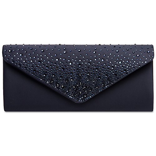 Caspar TA422 elegante Damen Baguette Envelope Clutch Tasche mit Strass Dekor, Farbe:dunkelblau, Größe:One Size
