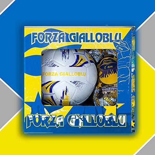 Pallone da Calcio Mis. 5 con Uova di Pasqua da 150gr. Cioccolato al Latte Forza GIALLOBLU