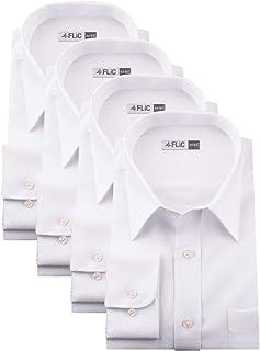 (フリック) FLiC【13サイズ】白無地 織柄 ワイシャツ 4枚セット 白シャツ 長袖ワイシャツ 形態安定 メンズ/flm-l02