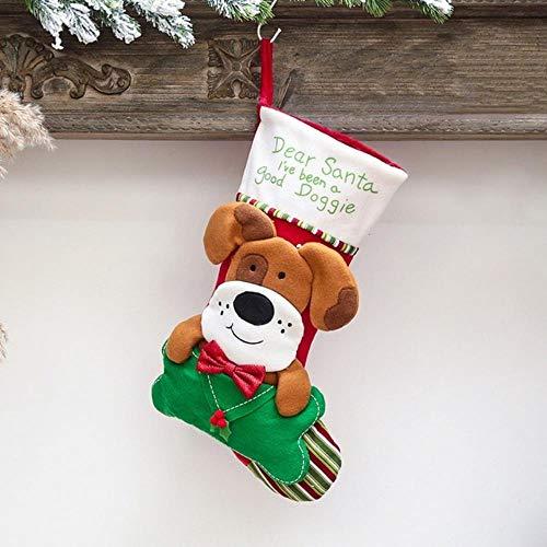 heidian Decorativas Regalos Festival Lindos Calcetines Navideños Navidad Año Nuevo Bolsas De Dulces Bolsas De Regalo Niños Decoraciones Navideñas Perros, Verde