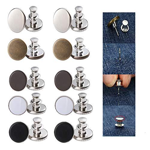 10 Sin coser botones instantáneos reemplazo extraíbles extender o reducir botones a presión jeans cintura ajustable pantalones de mezclilla falda de pana chaqueta leggings botones de sombrero