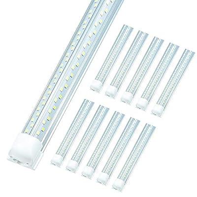 ELEKICO 4FT LED Shop Light Fixture, Upgrade High Brightness V Shape 50W 5000K, Integrated T8 LED Tube Light, Linkable 4 Foot Led Shop Lights for Workshop Garage Warehouse 10-Pack