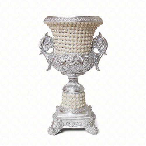 Vase Antikstil Blumenvase Dekoration Deko Vase Antik Gold Barock Silber (Silber - Pearl - Christal)