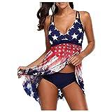 FORUU American Flag Swimsuits for Women 2021,Plus Size Two Piece Bathing Suit Cute Tankini Set Fashion Beachwear Padded Swimwear Modest Swimwear Tankini Swimsuits with High Waisted Bikini Bottoms