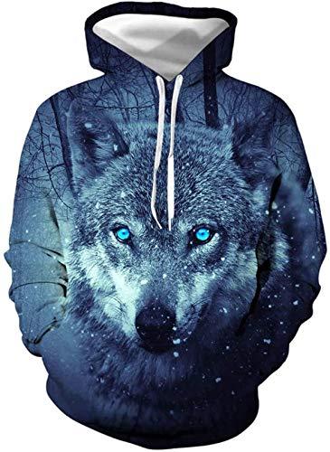 Sudadera unisex, Hombres camiseta de manga larga con capucha 3D lobo Animal suéter chaqueta unisex creativo superior largo de la blusa con capucha del traje camisas Escudo deporte ocasional, 3, XL