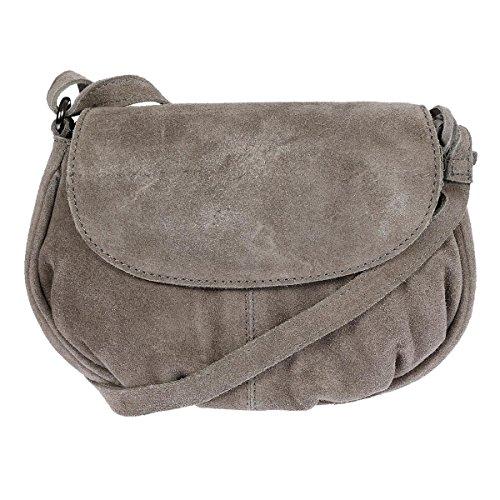 Christian Wippermann Leder Schultertasche Abendtasche Umhängetasche Überschlagtasche Ledertasche 22cmx18cmx5xcm (BxHxT) Grau