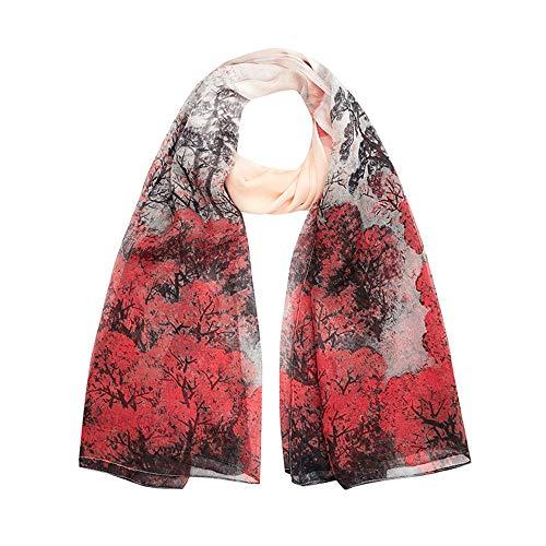 Bufanda de Seda Floral Bufanda de Seda Mujeres de impresión Suave Bufandas Floral Satin Bufandas para Damas Bufanda de Cuello Ligero Bufanda Liviana de Las Señoras (Color : Red, Size : 175x110CM)