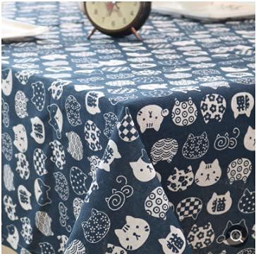 Mantel de periódico literario Tela de Lino de algodón nórdico Arte pequeño Escritorio de celosía Fresca Mesa de café paño de Mesa-Gato Azul, 140x140cm