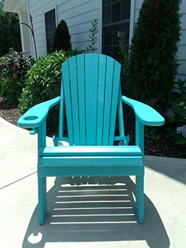 Furniture Barn USA Premium Folding Adirondack Chair w/Cup Holder - Poly Lumber - Aruba Blue