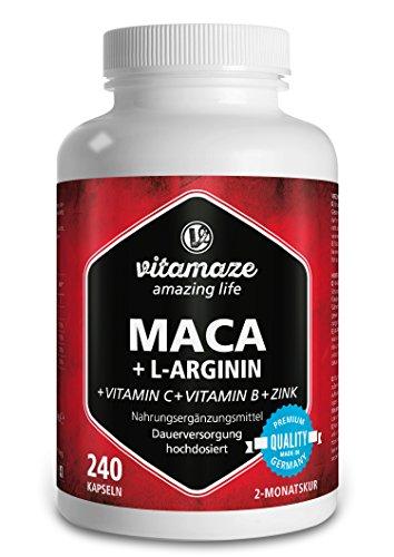 Vitamaze® Maca en capsules fortement dosées 4000 mg + L-Arginine 1800mg + Vitamines + Zinc, 240 capsules pour 2 mois, fabriqués en Allemagne