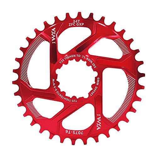 Nicole Knupfer Fahrradkettenring 32/34/36/38T BCD 104 Mountainbike Acero Singular Kurbel Kettenblatt Reparación piezas para Outdoor Radfahren, color rojo, tamaño 36T
