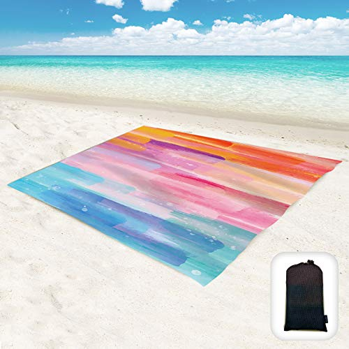 """Hiwoss Sand Proof Beach Blanket Oversized 95""""x 80"""",Waterproof Sand Free Beach Mat with Corner Pockets,Portable Mesh Bag for Beach Festival,Picnic,and Outdoor Camping,Rainbow Watercolor Painting"""