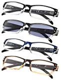 4-pack Rectangular Reading Glasses with Spring Hinges Includes Sunshine Readers