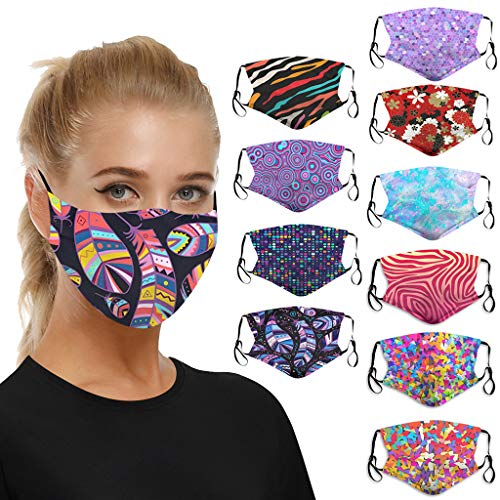 10 Pack Teen Girls Floral Printing Face Protective, Colorful Dust Face_mask Protection Washable Reusable Cotton Face Mouth Protection for Adults Womens Men