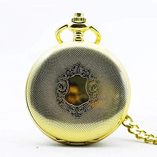 J-Love Reloj de Bolsillo mecánico de Acero Inoxidable Steampunk Antiguo Dorado para Hombre, Cadena Colgante para Hombre y Mujer, Regalo