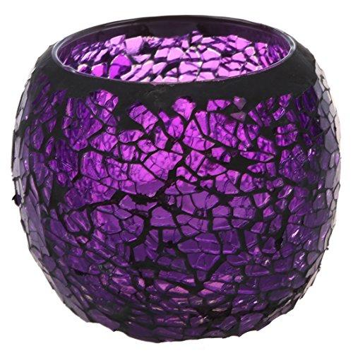 Teelicht Kerzenhalter - SODIAL(R)Handgefertigt Deko Glas Teelicht Kerzenhalter,Schwarz Rand Lila