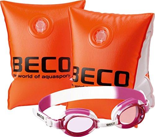 Beco 9703 Schwimmhilfe - Schwimmflügel, Größe 0, 15-30 kg, 2-6 Jahre - Set mit pinker Schwimmbrille 100{39a83ebeea1bd0fb3a430f5f21670555c478d83282685d4b85aeb0b752e423bb} UV-Schutz und Antibeschlag in der robusten Aufbewahrungsbox