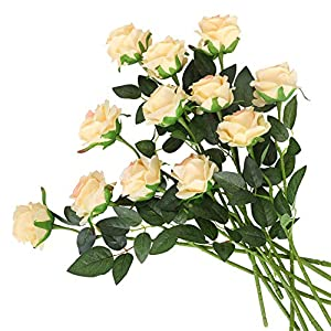 Kisflower 12Pcs Roses Artificial Flowers Realistic Single Stem Flowers Silk Rose Bouquet for Wedding Party Office Home Decor (Champagne)