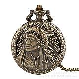N-brand Vintage Chain Pocket Watch,Chief Evergreen Large Pocket Watch Indian Old Man Pattern Flip Unisex Commemorative Roman Digital Pocket Watch Retro Punk LATT