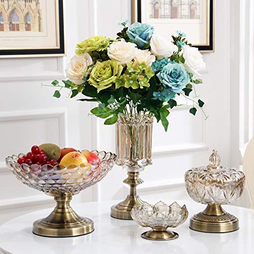 ZTMN Obstschale Glas Obstschale Europäischen Stil Wohnzimmer Couchtisch Dreiteilige Kristallglas Obstschale, Dreiteiliger Aschenbecher + Bonbonglas + Obstschale
