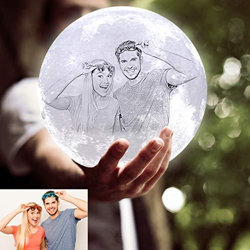 ACED Lampara luna personalizada con foto, Personalizada impresa en 3D luz de noche creativa romántica de 16 colores, Original regalo para Cumpleaños Aniversario Navidad día de la padre, 7.1inc